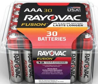 30 pack of Rayovac Fusion Premium AAA