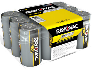 Rayovac Ultra Pro Alkaline D Batteries sold in Contractor 12 packs
