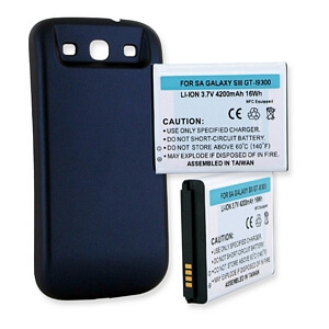 SAMSUNG GALAXY S3 4200mAh EXTENDED BATTERY WITH NFC BLUE CVR