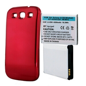 SAMSUNG GALAXY S3 4200mAh EXTENDED BATTERY WITH NFC RED CVR