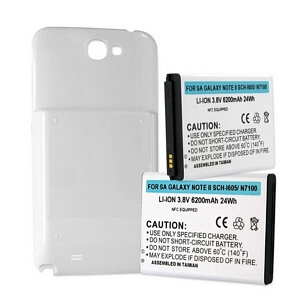 SAMSUNG GALAXY NOTE II 6.2Ah EXTENDED BATTERY W/ NFC WHITE COVER