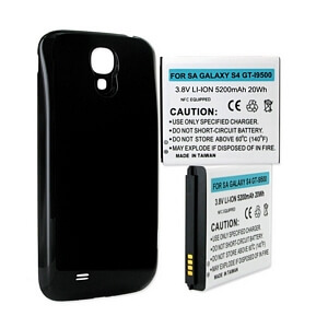 SAMSUNG GALAXY S4 5.2Ah EXTENDED NFC BATTERY W/ BLACK COVER