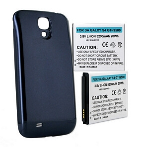 SAMSUNG GALAXY S4 5.2Ah EXTENDED NFC BATTERY W/ BLUE COVER