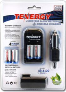 CR123 Battery Charger & 4 Rechargeable RC123 Batteries