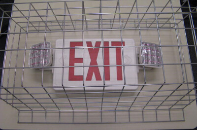 EXIT with EMERGENCY LIGHT - Wire Cage WG-LEDCX