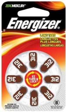 ENERGIZER Long Lasting Hearing Aid Battery 312